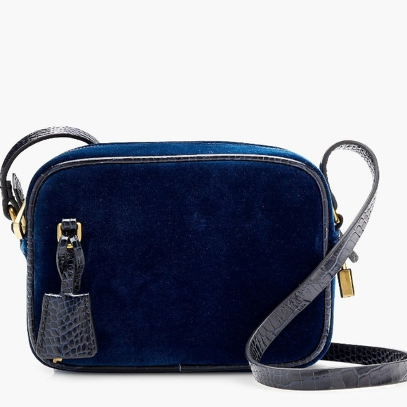 J. Crew Handbags - J. Crew Signet Bag in Blue Velvet